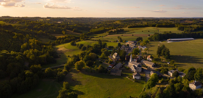 Aerial shots of Saint-Vitte-sur-Briance, France.